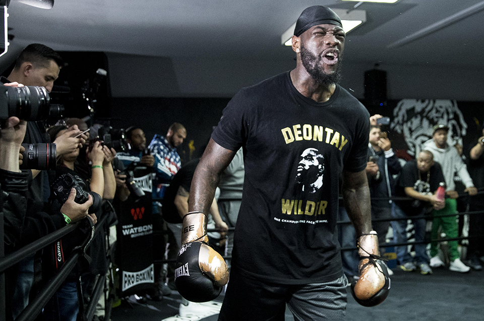 HEAVYWEIGHT WORLD CHAMPION DEONTAY WILDER CONDUCTS LOS ANGELES MEDIA WORKOUT